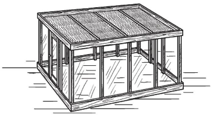 Схема теплицы с горизонтальной крышей