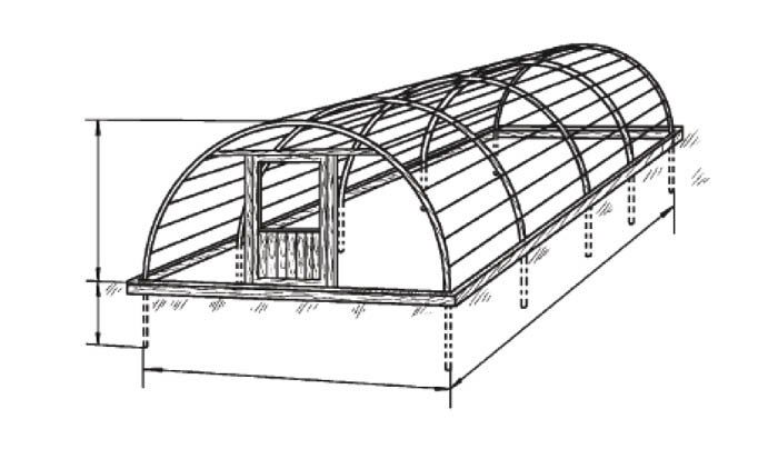 Схема весенней теплицы арочного типа