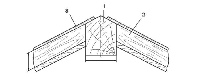 Крепление шпроса с верхним коньковым брусом: 1 - верхний коньковый брус; 2 - шпрос; 3 - фальц (паз) для стекла