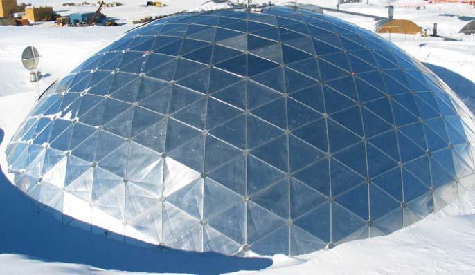 Стратодезический купол обладает приближенной минимальной степенью сопротивления сильным порывам ветра и ураганам