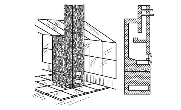 Печь для теплицы: а - общий вид; б - в разрезе