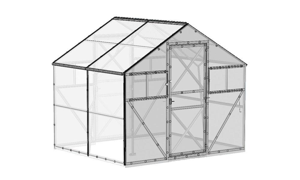 Теплица марки «Дачная-Звёздочка» обладает двускатным вариантом съёмной крыши