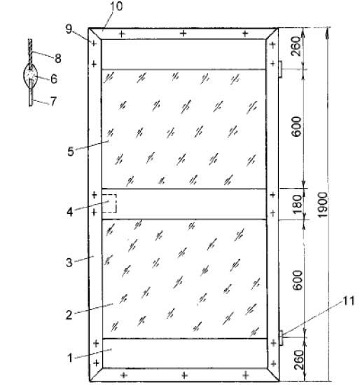 1 - 2 миллиметровая сталь на замазке; 2 - стекло: 3 - рама двери, Г - образный профиль 40 х 4 мм.; 4 - врезной замок, оконная завертка и т.д.; 5 - стекло на замазке; 6 - пластмассовый профиль; 7 - стекло; 8 - листовая сталь; 9 - болт с потайной головкой М 6 x 10; 10 - углы скрепляются оконными угольниками; 11 - петля или шарнир