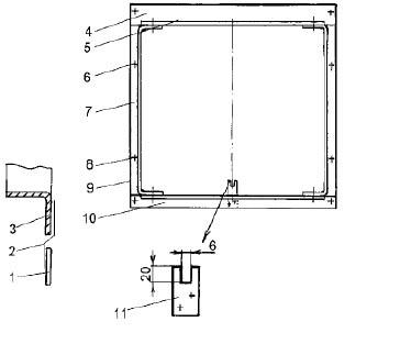 1 - стекло; 2 - вложенная полоска жести; 3 - профиль рамы; 4 - Г- образный профиль 60 x 30 x 3 мм. обработанный; 5 - шарнир для форточки; 6 - болт с потайной головкой М6 х 10; 7 -  Г - образный профиль 30 x 3 мм., концы обработаны и согнуты; 8 - болт с потайной головкой М6 х 15; 9 - коробка кладется на замазку и скрепляется со шпросами болтами; 10 - Г - образнын профиль 30 x 3 мм., обработанный; 11 - фиксатор, профиль 30 х 5 мм., длина 60 мм.