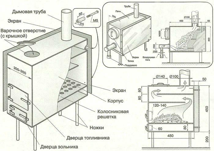 Чертеж печи длительного горения для отопления теплицы