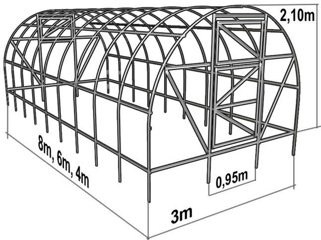 Тепличная конструкция «Киновская» согласно пожеланиям заказчика может обладать различной длиной, однако базовые параметры длины составляют четыре метра, при ширине в три метра и высоте чуть более двух метров
