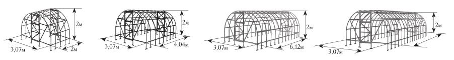 Моедль представлена в нескольких размерностях, что позволяет подобрать наиболее оптимальную теплицу для своего участка