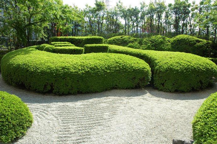 Одним из объектов ландшафтного дизайна в этой стране являются карикоми – кустарники, выращенные в виде плотной подушечки