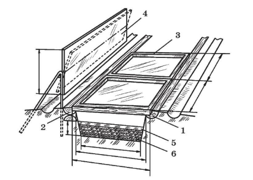 Парник с отражающим экраном: 1 - южный парубень; 2 — северный парубень; 3 - парниковая рама; 4 - отражающий экран; 5 - парниковая земля; 6 – биотопливо