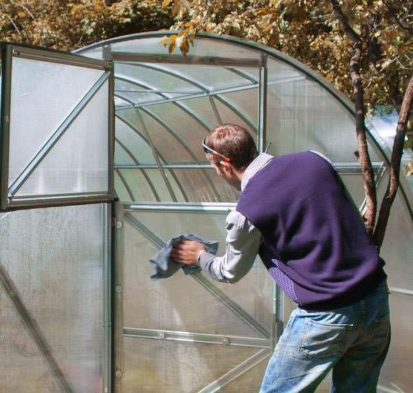 Очень важно проводить качественную и грамотную дезинфекцию семенного материала и тепличной конструкции. Особое внимание уделяется обработке теплиц, изготовленных на основе плёночного укрытия и листового поликарбоната