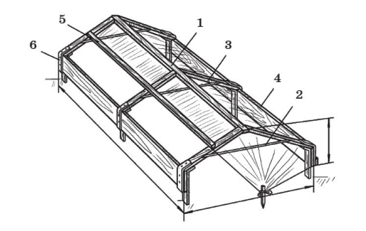 Разборно-передвижной парник: 1 - коньковый брус; 2 - стяжка; 3 - строительный брус; 4 - бортовая доска; 5 - бобина с пленкой; 6 - соединительная скоба