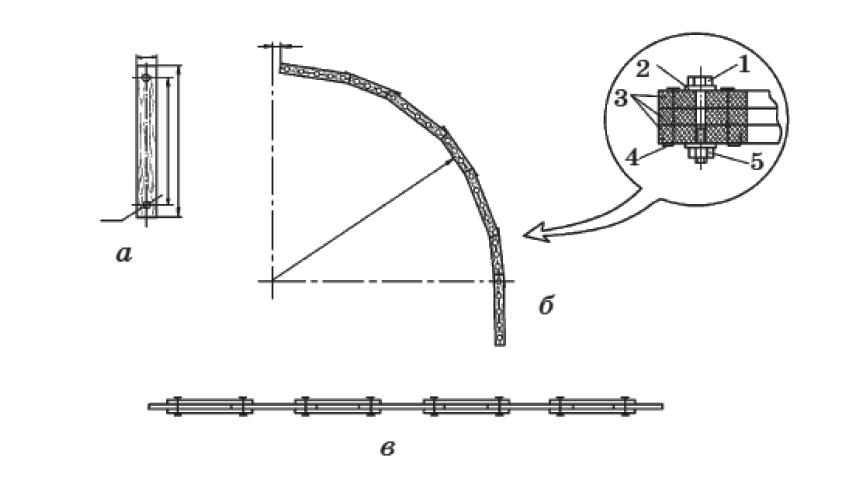 Конструкция дуги: а — планка; б — дуга в рабочем состоянии; в — дуга до изгиба ее по шаблону; 1 - болт М 6 х 60; 2 - шайба; 3 — планки; 4 — гвоздь 3 х 70; 5 — гайка М6
