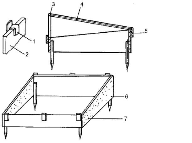 Проект постройки парника: 1 - фасонная сталь 30 x 3 мм.: 2 - бетон: 3 - деревянная подставка: 4 - рама: 5 - поперечные  планки как упор или шарниры для рам: 6 - нижний край заглубить в землю: 7 - боковую стенку подогнать по ширине к передней и задней стенкам