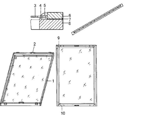 Парниковые рамы, изготовленные собственными руками: 1 - рама по размеру стекла; 2 - ручка; 3 - стекло; 4 - замазка с двух сторон; 5 - штапик или гвозди с замазкой; 6 - дерево 40 x 20 мм.; 7 - слой водоустойчивого клея: 8 - дерево 55 x 30 мм.; 9 - стальной угольник: 10 - накладка для упора
