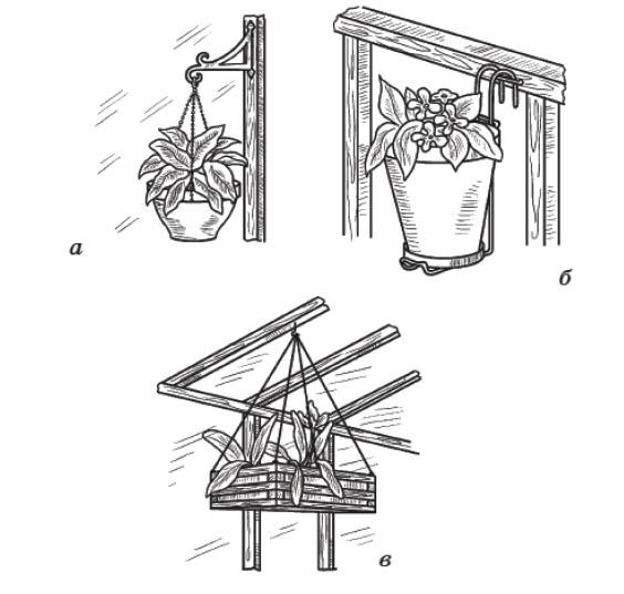 а - корзинка на кронштейне; б - горшок на подвесной подставке; в - деревянная корзинка на шнурах
