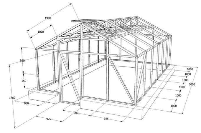 Чертежи деревянных тепличных каркасов имеют существенные отличия от конструкций на основе поликарбоната или других материалов