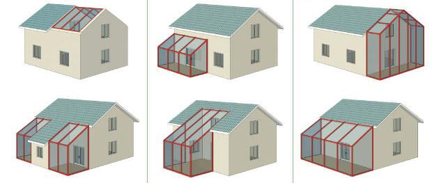 Варианты размещения домашней оранжереи целесообразно продумать еще на этапе строительства дома
