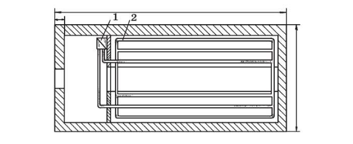 План зимней теплицы с кирпичными стенами: 1 - водогрейный котел; 2 - отопительные трубы