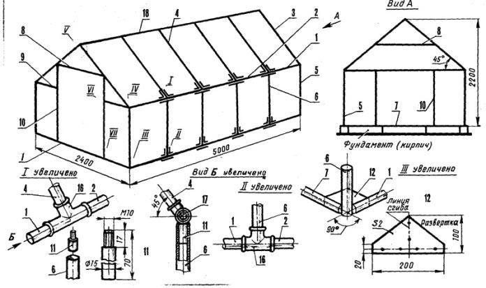 При самостоятельном изготовлении двойной теплицы целесообразно воспользоваться готовыми чертежами и схемами