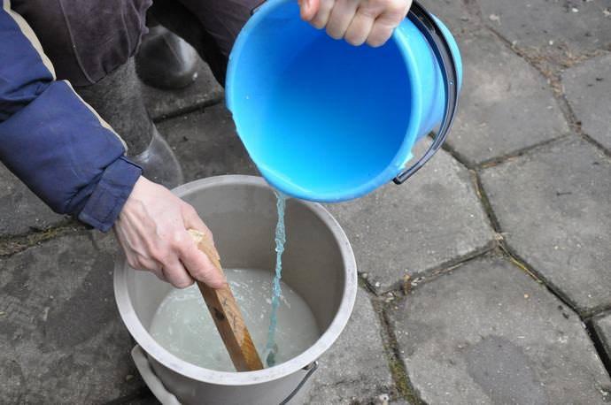 Медный купорос следует размешать в небольшом количестве горячей воды, долить холодной водой до нужного объема