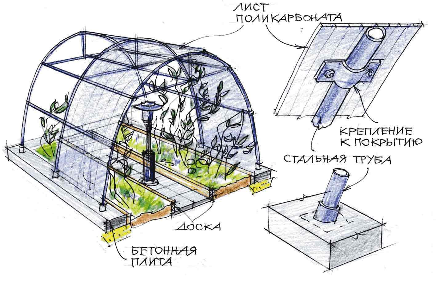 Теплицы, обладающие арочной или куполообразной конструкцией крыши, характеризуются необходимостью изгиба листового пластика поперёк рёбер. Максимальный показатель радиуса изгиба лучше всего уточнить по данным, указанным на маркировке